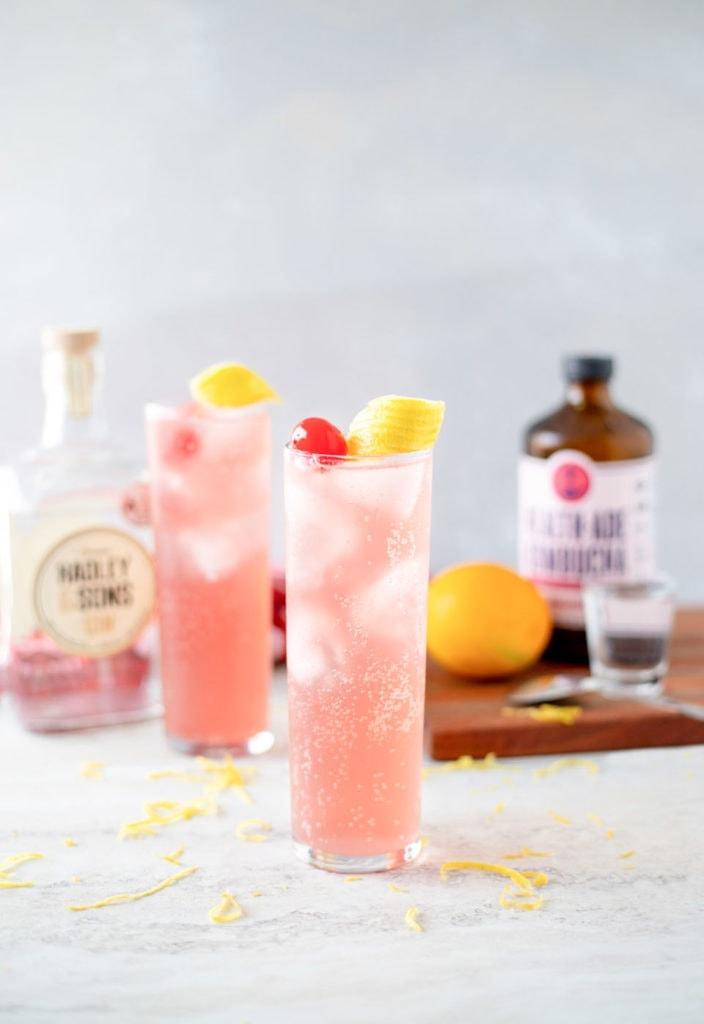Kombucha cocktails in glasses.