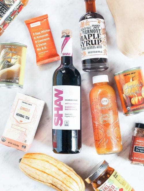 Healthy Trader Joe's products for fall on a white background.