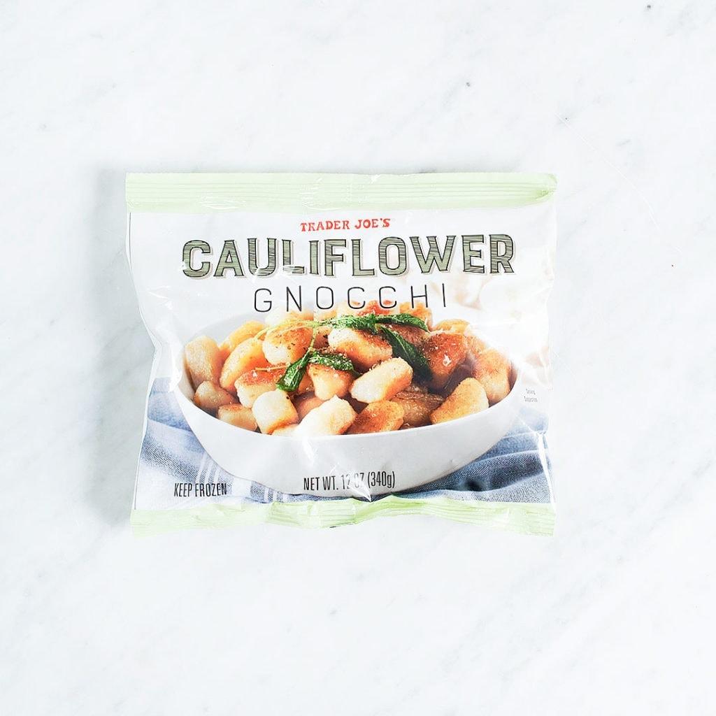Trader Joe's cauliflower rice on a white background.