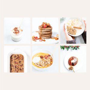 Grid of healthy fall breakfast recipes.