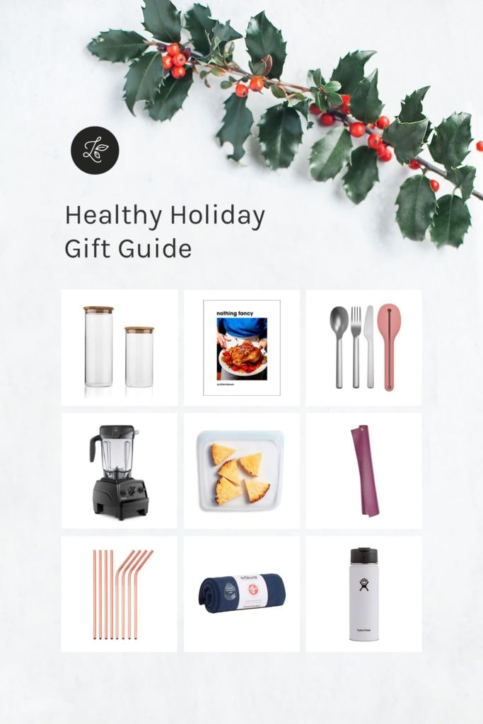 Grid of healthy holiday gifts.