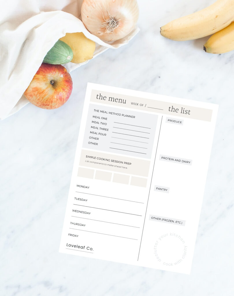 Meal planner on a white background.