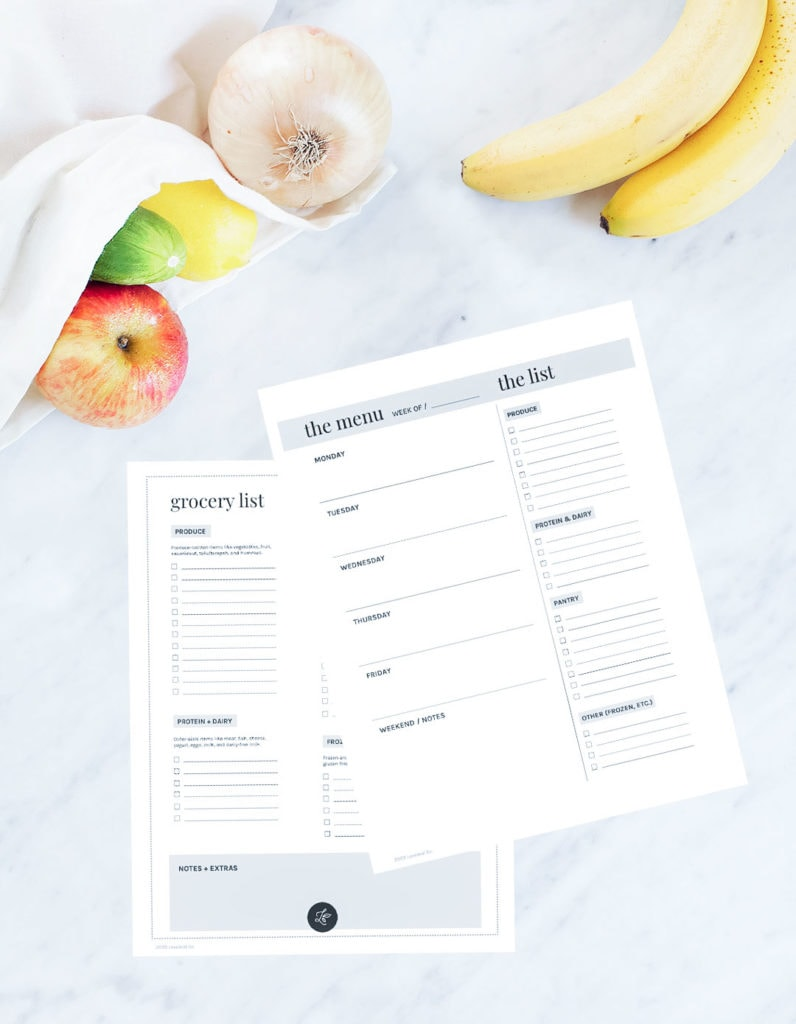 Printable grocery list and weekly meal planner on a white background.