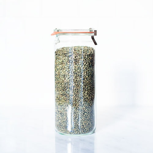 Lentils in a glass jar.