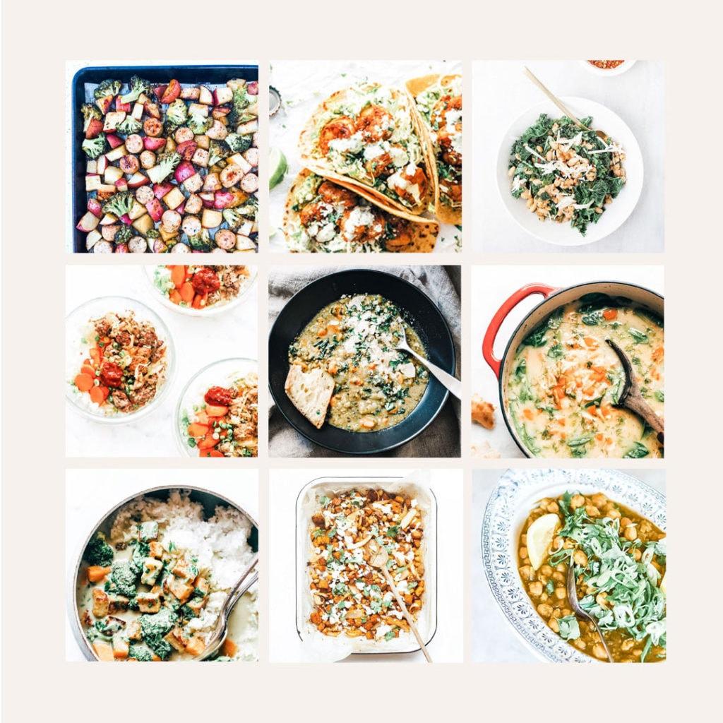 Grid of nine easy weeknight meals.
