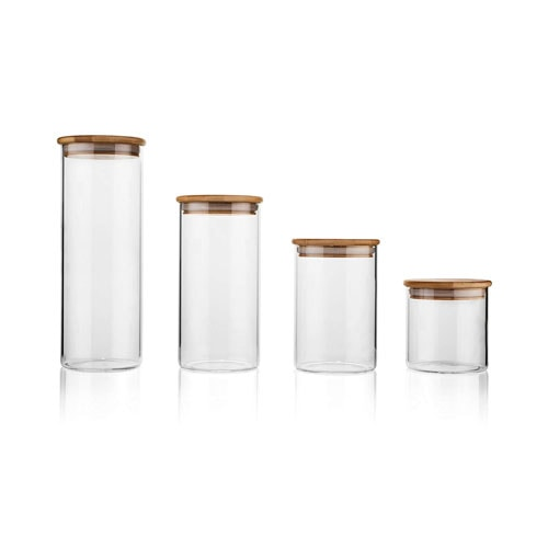 Glass and bamboo food storage containers.