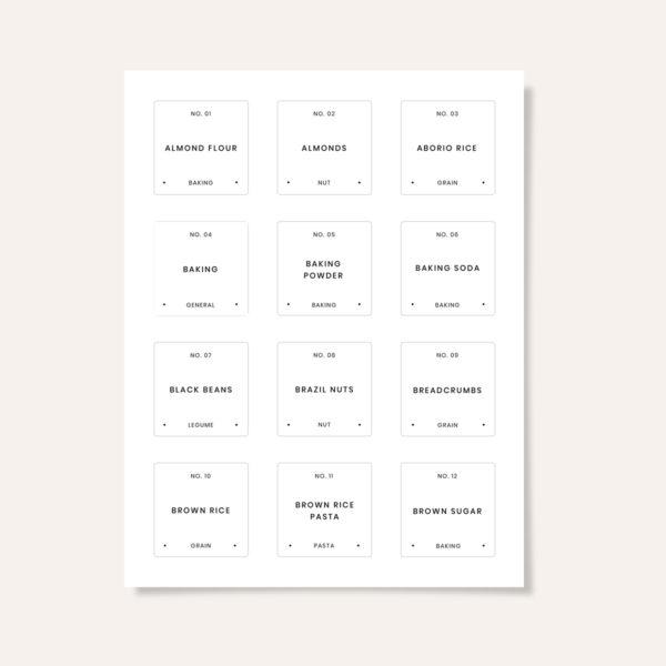 Printed modern minimalist pantry labels.
