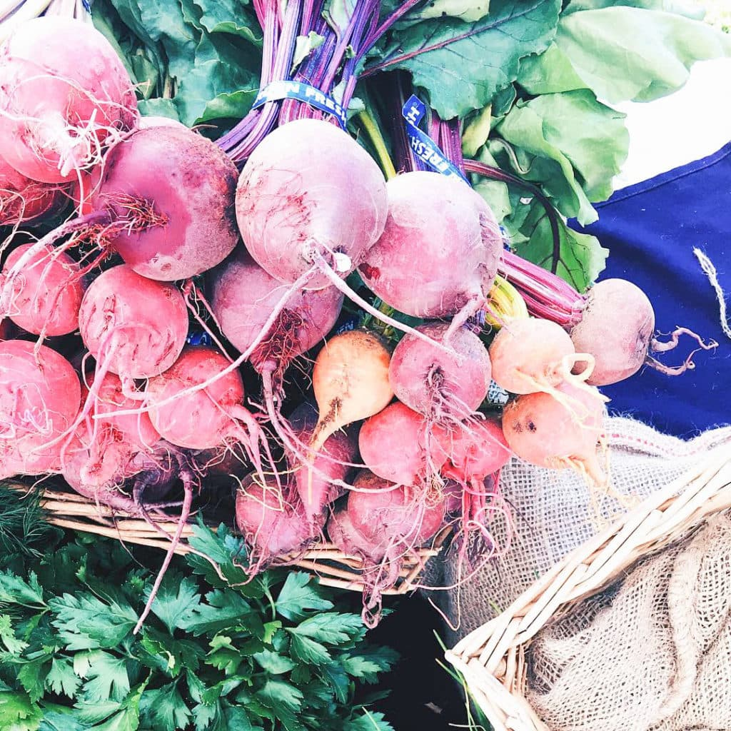 Beets at a farmstand.