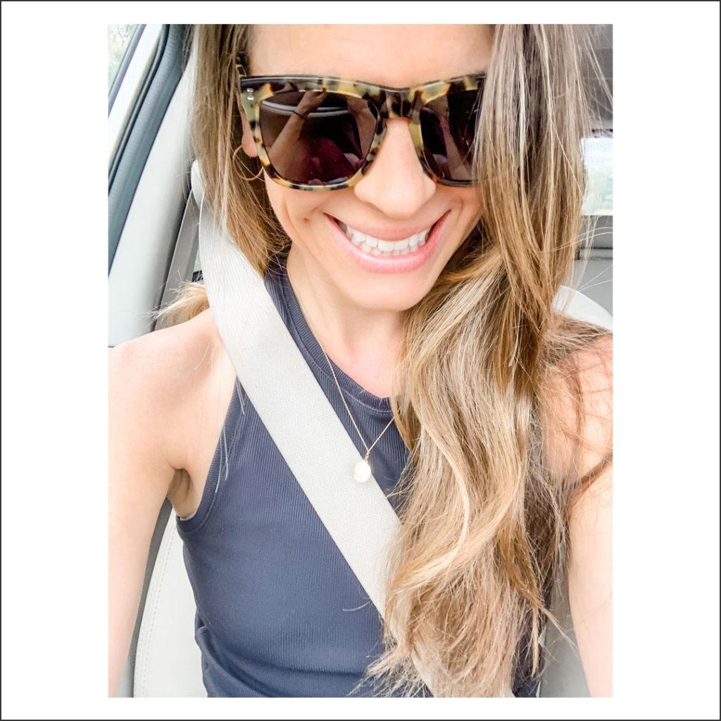 Ally Milligan in a car.