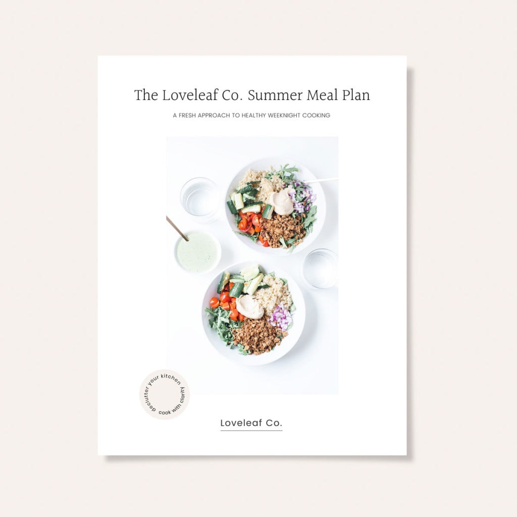 Loveleaf Co. Summer Meal Plan cover with pink background.