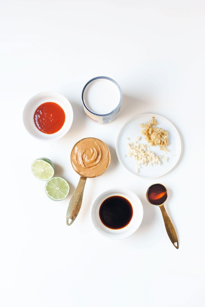 Coconut peanut sauce ingredients on a white table.