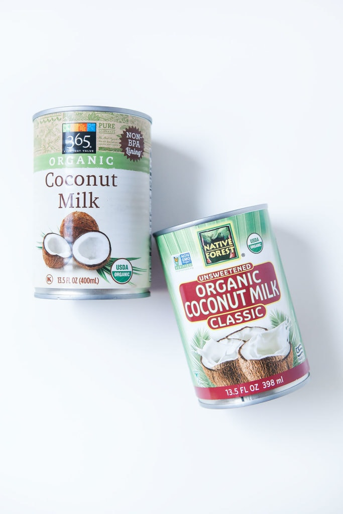 Cans of coconut milk for making coconut cauliflower rice.