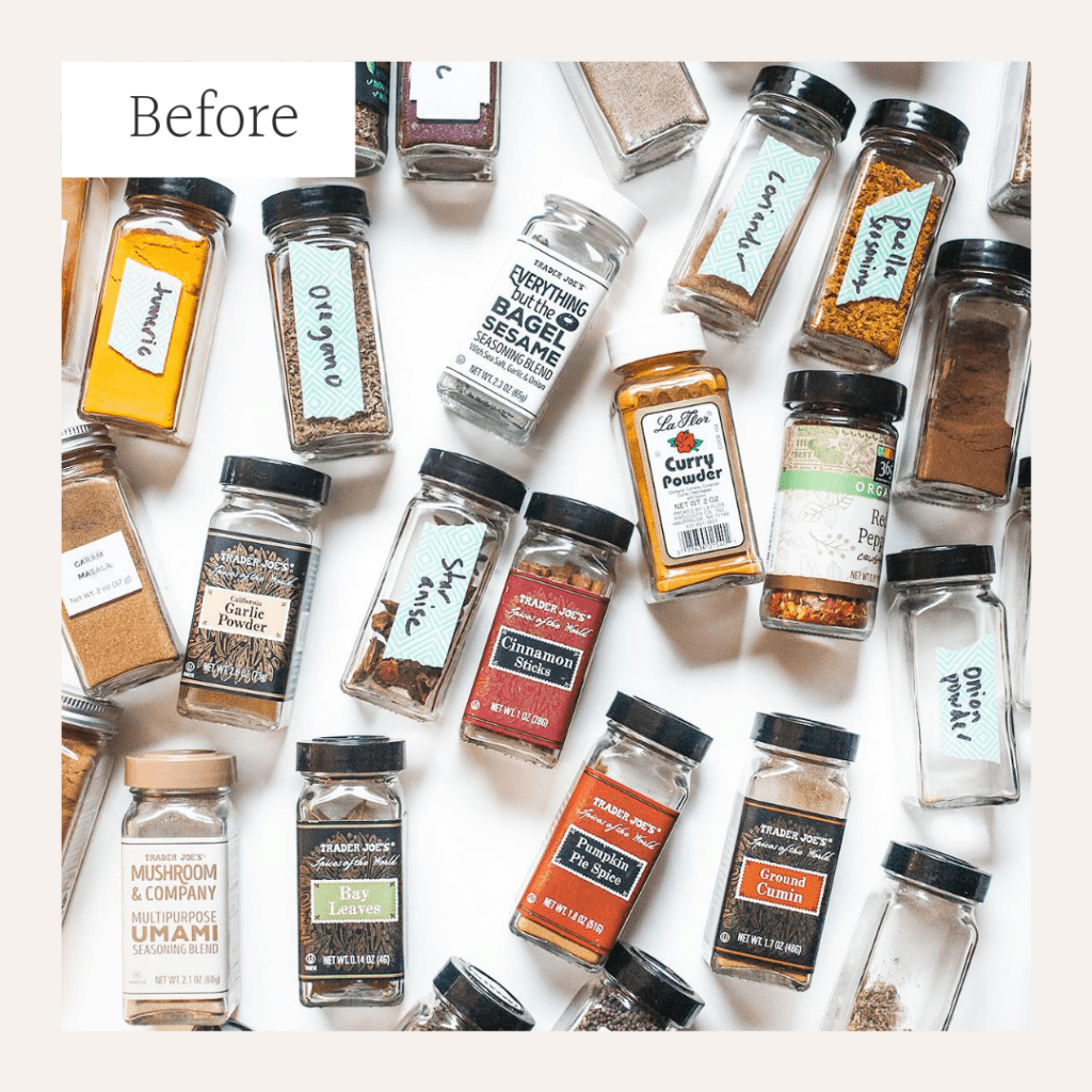 Disorganized spices on a white surface.