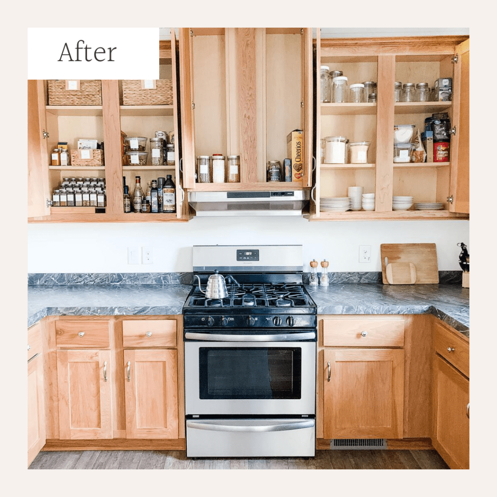 Clean kitchen with cabinet doors open.