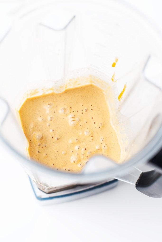 Gluten-free blender pumpkin pancake batter in a blender.