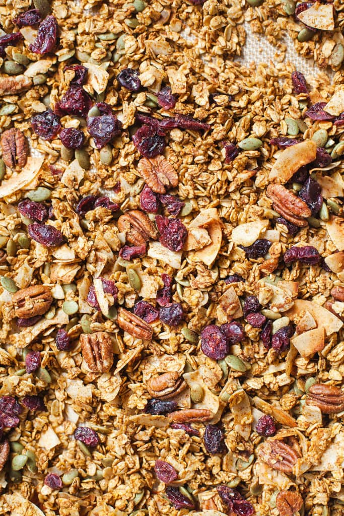 Close-up of Low-sugar pumpkin granola.