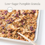 Close-up of low-sugar pumpkin granola on a baking sheet.