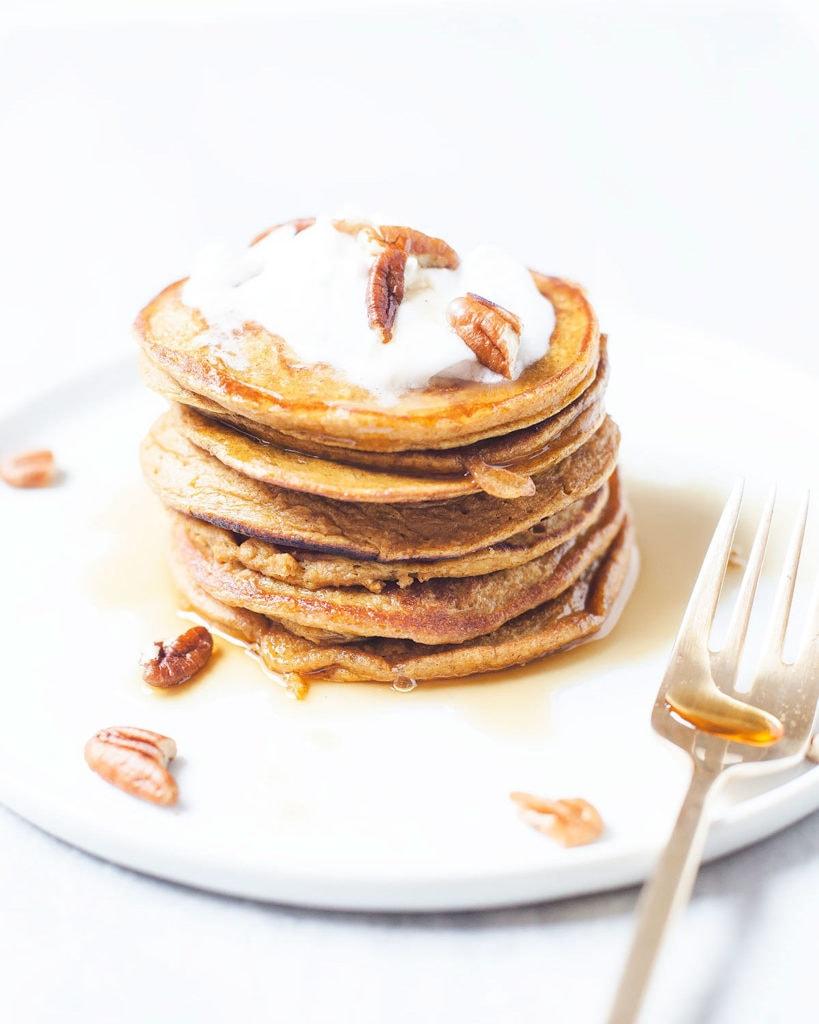 Stack of gluten-free pumpkin pancakes.