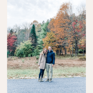 Ally Milligan with her husband in the Adirondack mountains.