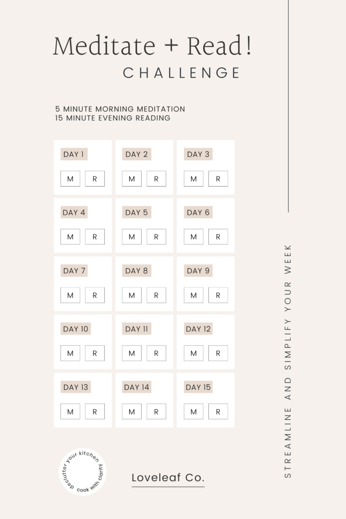 Printable meditation calendar for a 15-day meditate and read challenge.