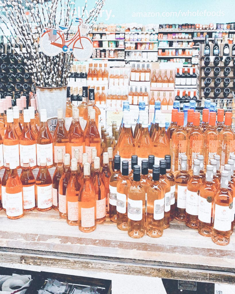 Rosé wine in a grocery store.