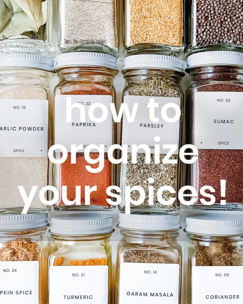 How to organize your spices text.