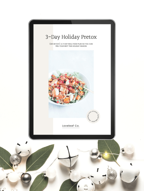 Black iPad with 3-Day Holiday Pretox and holiday decorations on a white background.