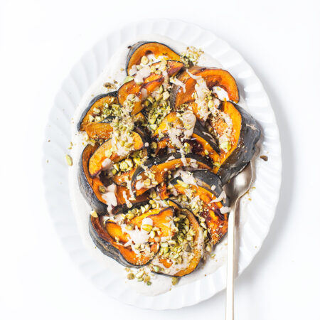 Roasted Kabocha Squash with Spiced Tahini Yogurt and Pistachios