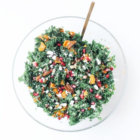 Thanksgiving Kale Salad with Maple-Rosemary Pecans