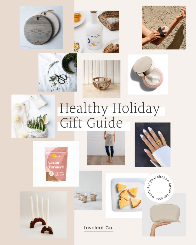 Healthy holiday gift guide collage.