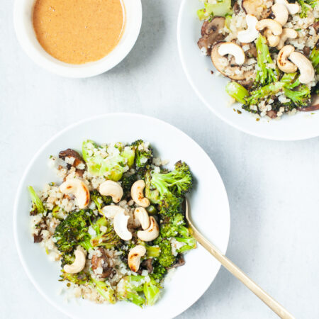 Nutty Cauliflower Fried Rice with Broccoli and Almond Butter Sauce
