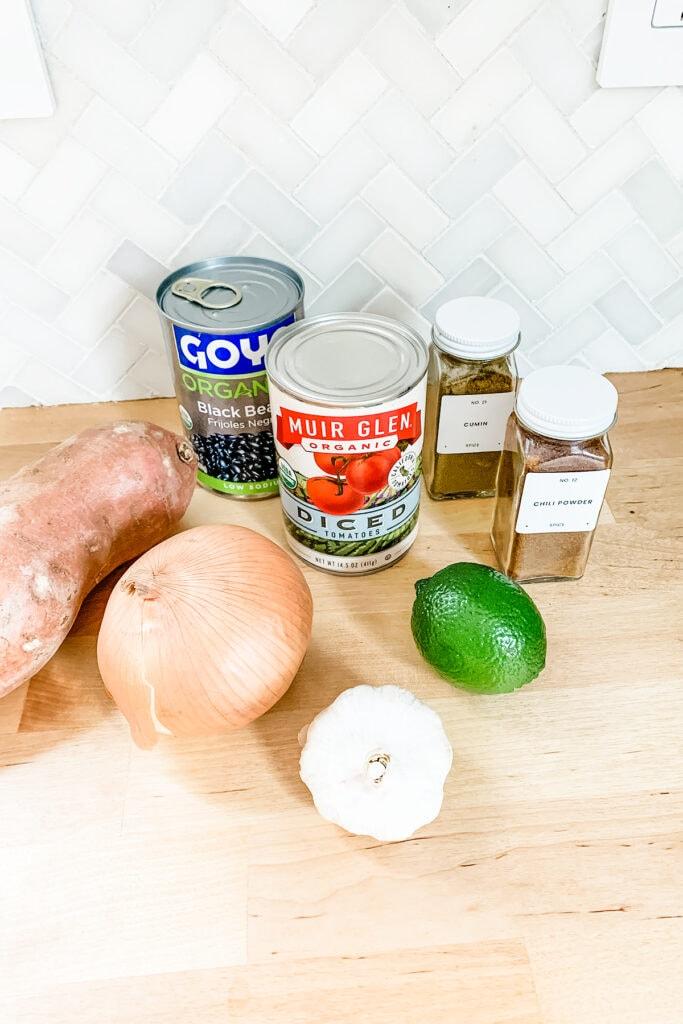 Easy sweet potato black bean chili ingredients on a counter.