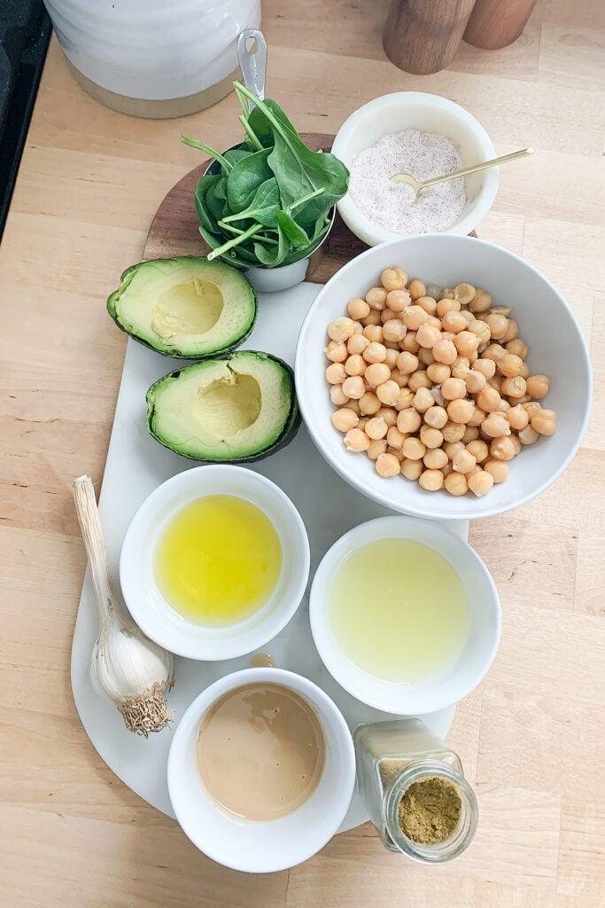 Avocado hummus ingredients.