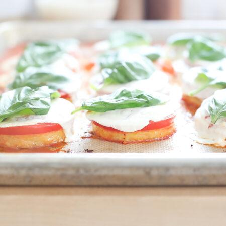 Baked Polenta Margherita Pizzas