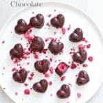 Easy homemade raspberry chocolate on white plate.