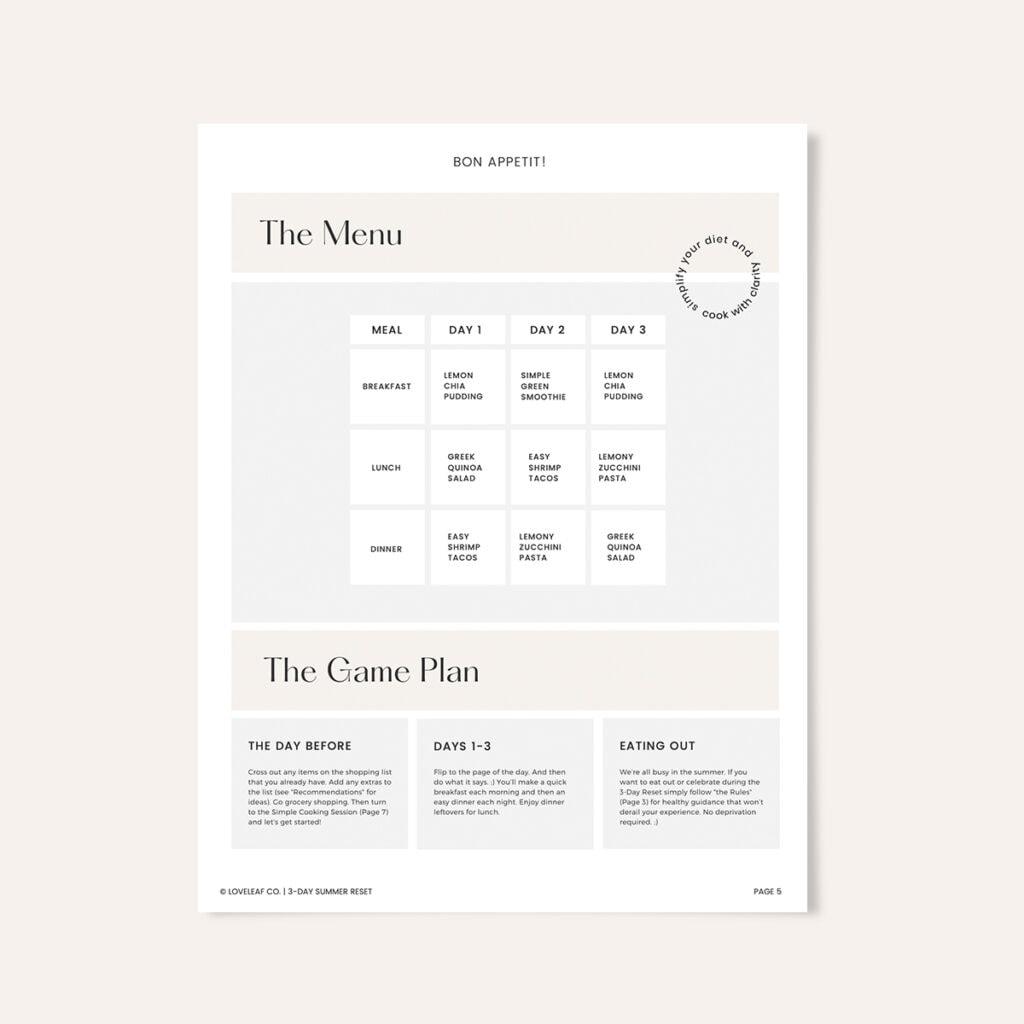 Loveleaf Co. Summer Reset menu