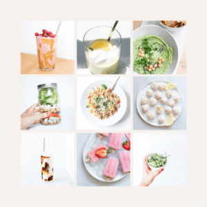 12 no-cook summer recipes in a grid layout.