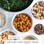 Fall kale and apple salad ingredients in bowls.