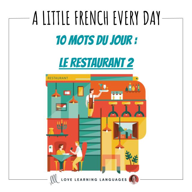 French Vocabulary list - 10 words about restaurants