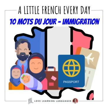 French Vocabulary list - 10 words about immigration
