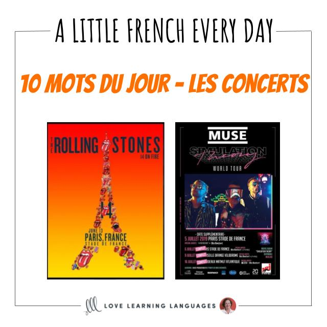 French Vocabulary list - 10 words about concerts