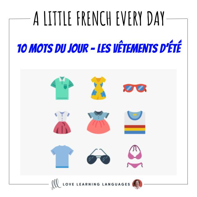 French Vocabulary list - 10 words about summer clothes