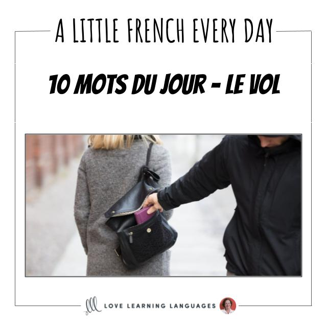 French Vocabulary list - 10 words about theft