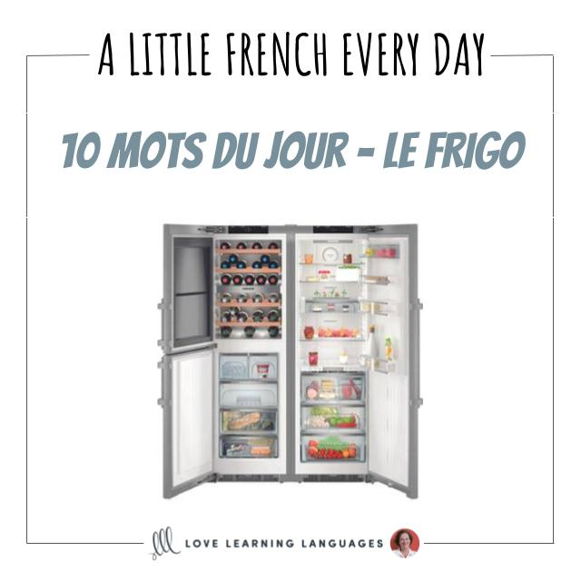 French Vocabulary list - 10 words about the fridge