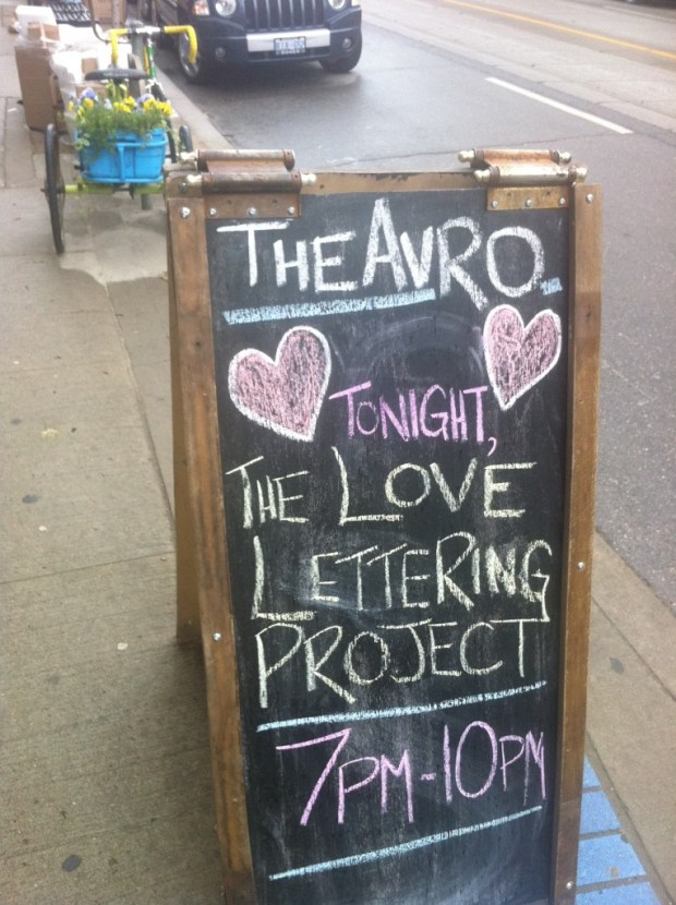 love lettering project, love, toronto, east end, leslieville, The Avro, PALSAC