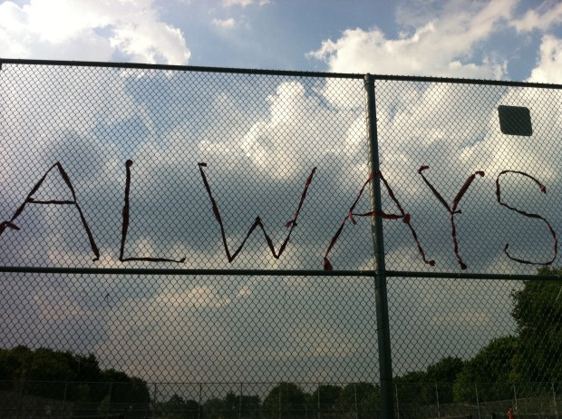 love, love lettering project, trinity bellwoods park, graffiti, miss you, tennis courts, lindsay zier-vogel