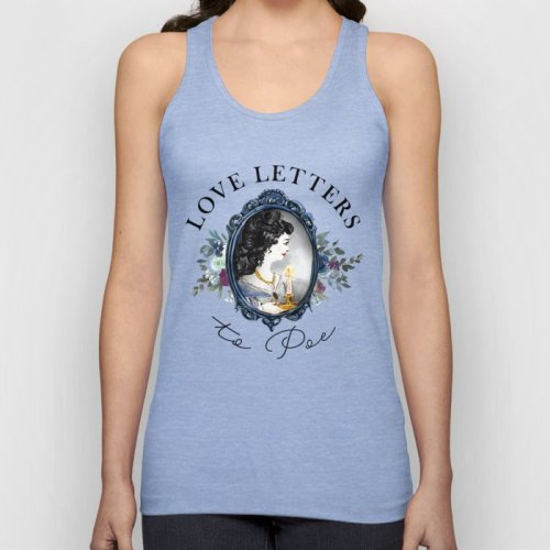 Light blue tank top from Society6 with Love Letters to Poe watercolor logo