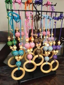 All natural wooden teething/nursing necklaces from Meadoria