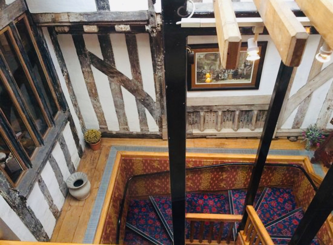 Brook Red Lion Hotel Stairs showing the hundred of year sold beams