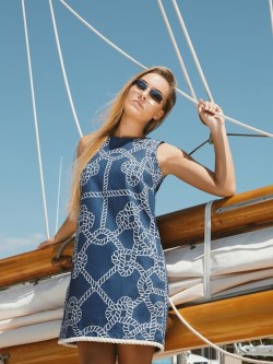 Navy Ropes, Meredith Dress w Cream Rope Accent
